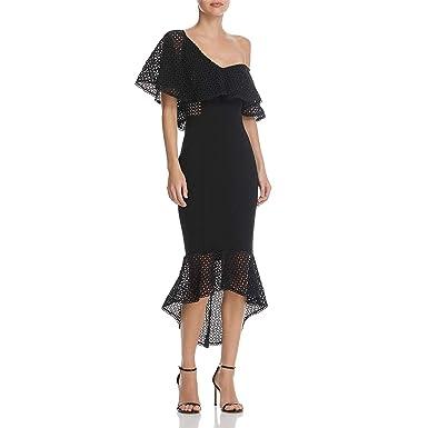 99bbd1d21b648 Elliatt Womens Harlow One Shoulder Flounce Cocktail Dress Black S at Amazon Women's  Clothing store:
