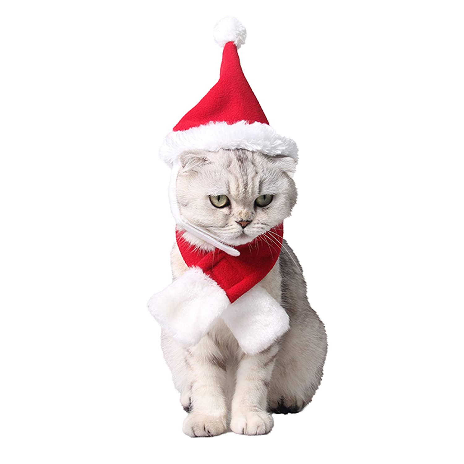 2pcs Christmas Collar and Hat For Small Pet Kitten Doggy Santa Hat Collars Necktie with Bell Cat Dog Christmas Costume Set Winter Clothes Warm Soft Lovely for Kitty Puppy Sweet Gift