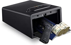 Younion Pistol Safe Smart Quick Access Electronic Security Cabinet, Multifunction Handgun Safe with Keypad & Emergency Keys, for Securely Storing Firearms, Valuables, Documents