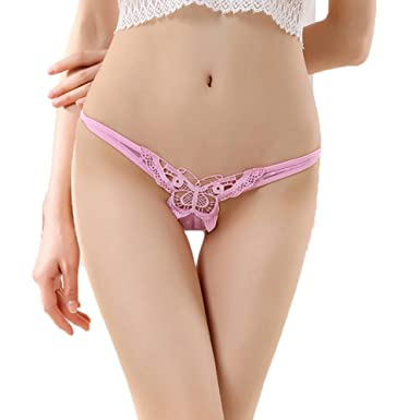 0373b129107 LA TALUS® Women Sexy See Through Low Rise Butterfly Hollow Thong G-String  Underwear Panties (Pink)  Amazon.co.uk  Clothing