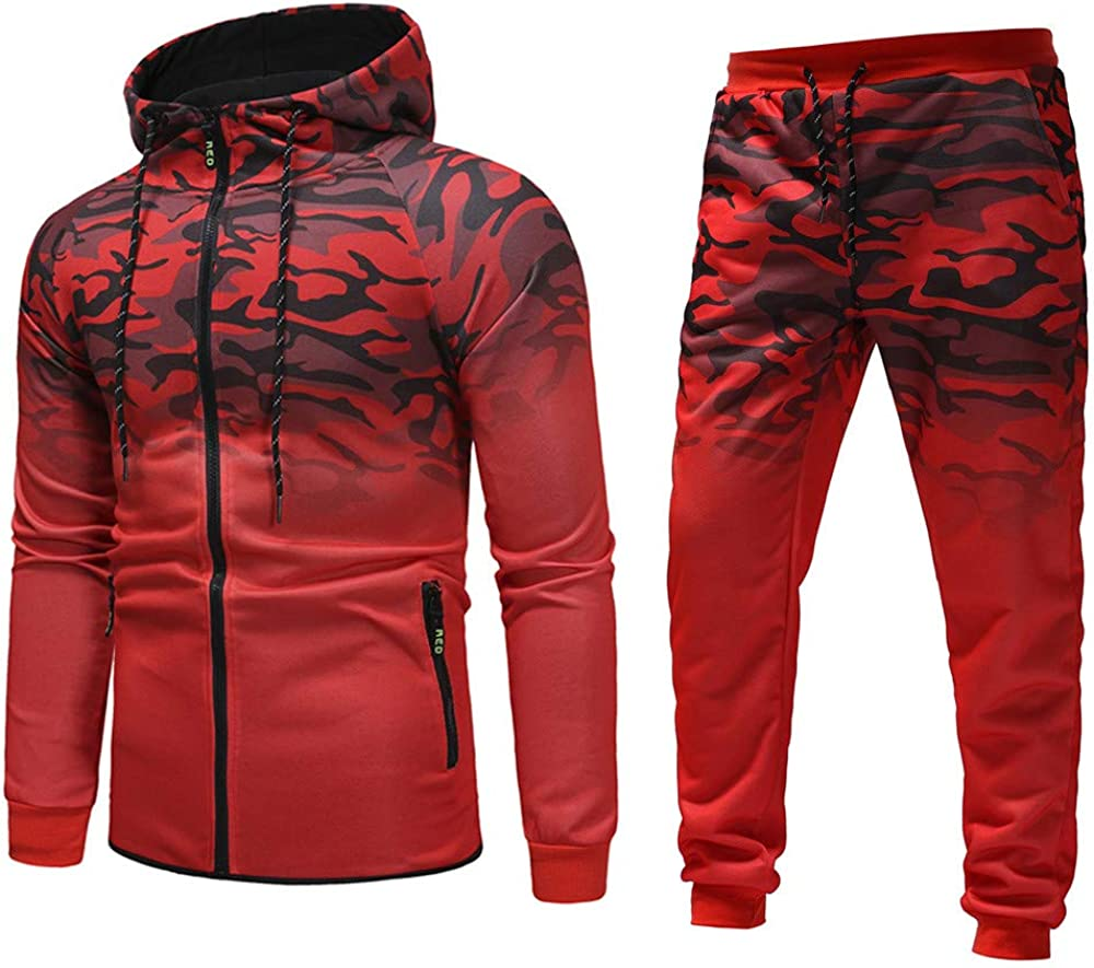 TOP Fighting Mens Full Zip Tracksuit Set Casual Jogging Athletic Sweat Suits