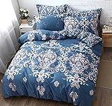 FADFAY Elegant Shabby Antique Style Bedding Set Navy Blue Designer 100% Cotton Duvet Cover Set Hypoallergenic,Twin XL Size 3-Pieces Dorm Room