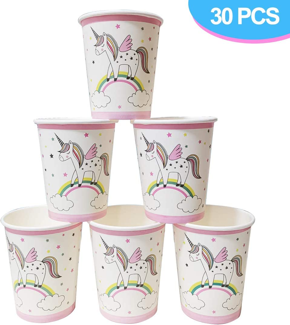 Unicorn Paper Cups for 30 Guests and Up