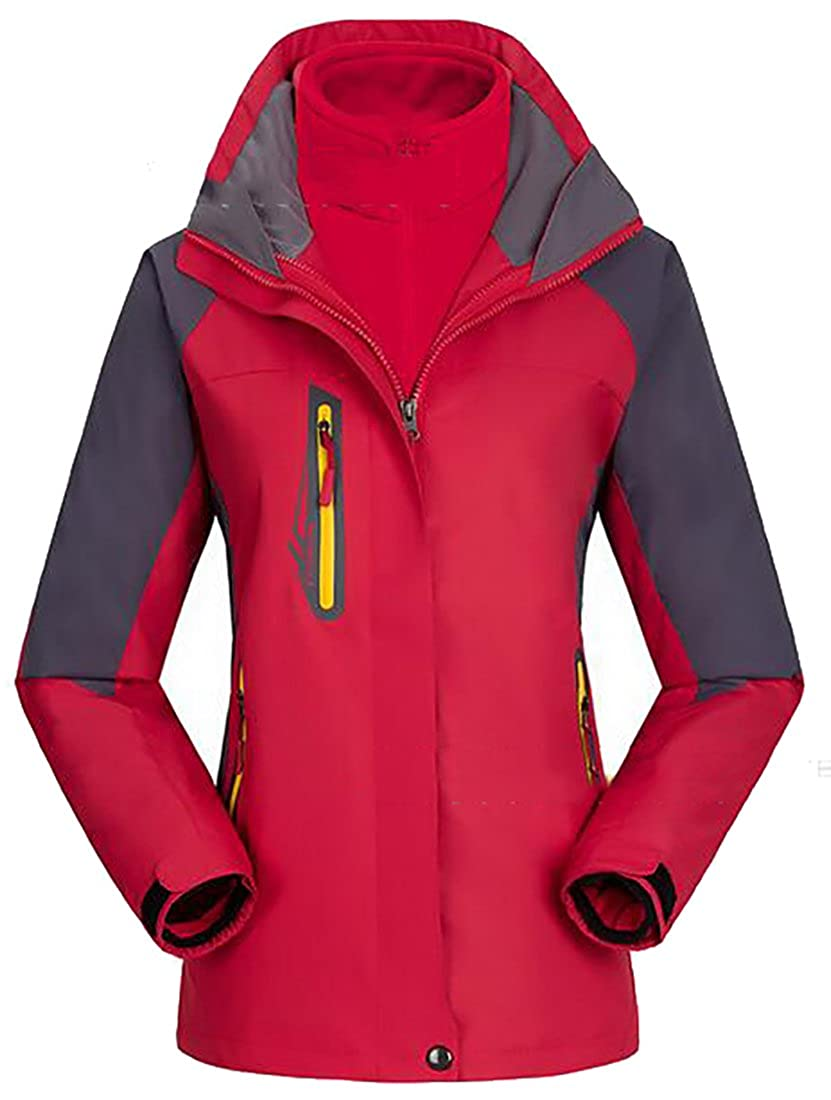 Sweatwater Women's Mountain Ski 2 in 1 Detachable Hood Outdoor Thick Jackets