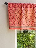 India Rose ~ Sheer Pink Floral Decorative Beaded Window Valance 46×17 For Sale