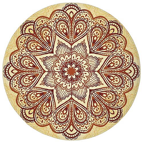 Round Rug Mat Carpet,Mandala,Floral Mandala Circular Form Pattern Vintage Style Spiritual Symbol Image,Chocolate Cream,Flannel Microfiber Non-slip Soft Absorbent,for Kitchen Floor Bathroom Spiritual Chocolate