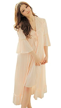 5e7fd4314996 Camellia12 Fantastic Satin Robe Set Lace Chemise Full Slips with Victorian  Robe (peachpuff)