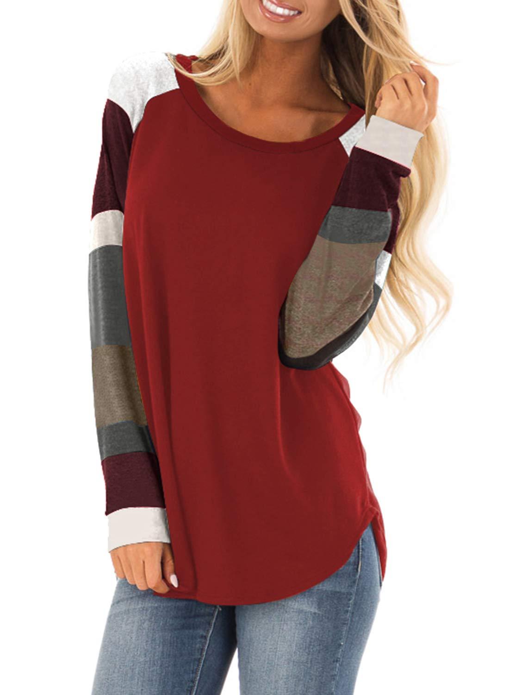 Asvivid Womens Casual Color Block Long Sleeve Pullover Tops Loose Lightweight Crewneck Tunic Sweatshirt S Red