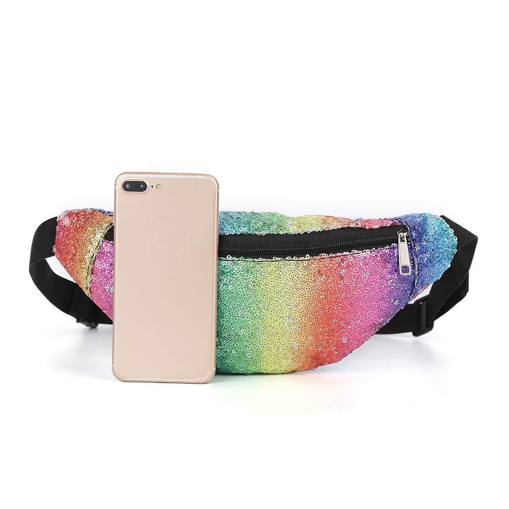 Jocestyle Colorful Women Sequin Fanny Packs Waist Bags Belt Chest Pouch Shoulder Bags