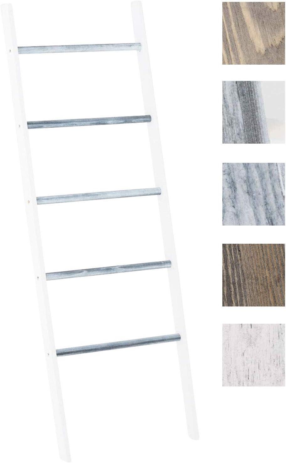 CLP Escalera de Madera Mariette V2 I Escalera Decorativa con 5 Peldaños I Toallero en Estilo Rústico I Escalera Multiusos Decorativa I Color: Blanco/Gris: Amazon.es: Hogar