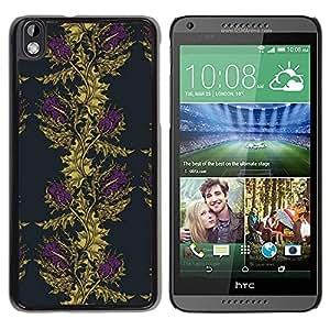Be Good Phone Accessory // Dura Cáscara cubierta Protectora Caso Carcasa Funda de Protección para HTC DESIRE 816 // Vignette Wallpaper Gold Purple