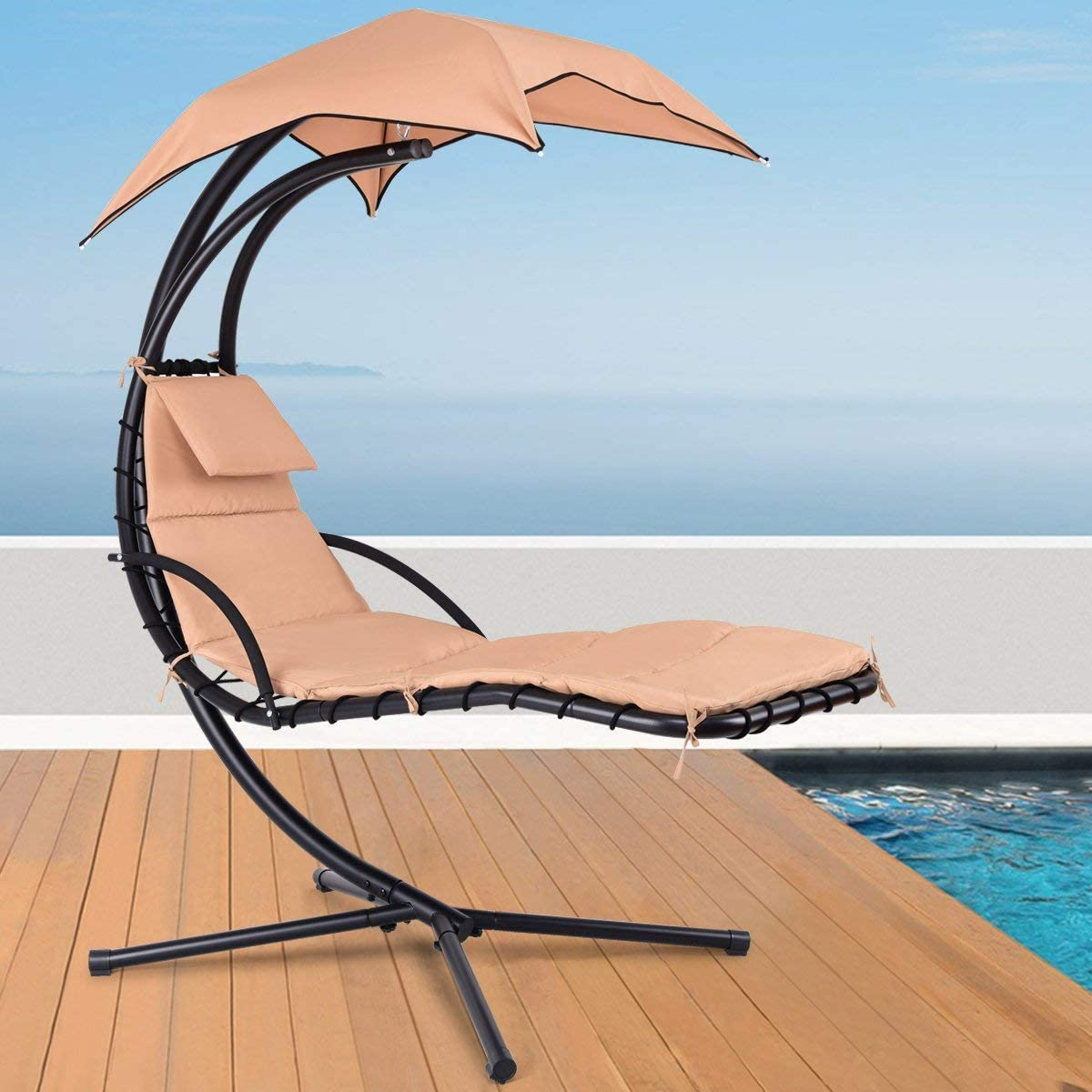 CozyBox Hammock Chair Stand Outdoor Patio Furniture, Outdoor Swings, Patio Lounge Chair Outdoor Hanging Chair Outdoor Lounger Free Standing Hammock Yard Chair Khaki