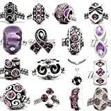Ten (10) Rhinestone Charm Beads in Assorted Colors to Choose From For Snake Chain Bracelets