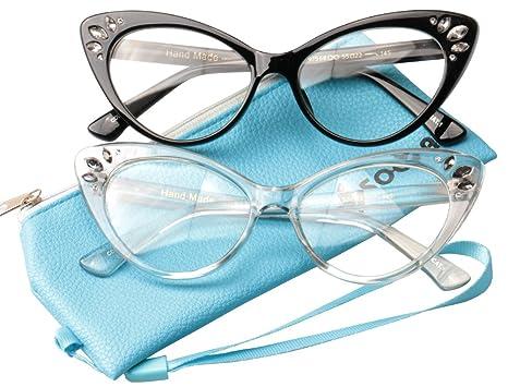 1c4aa38d338 SOOLALA Lovely 53mm Lens Cear Lens Eye Glasses Frame CatEye Reading Glasses