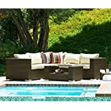 The-Hom Kessler 4 Piece Outdoor Wicker Sectional Sofa Set in Brown