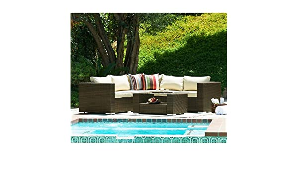 Amazon com   The Hom Kessler 4 Piece Outdoor Wicker Sectional Sofa Set in  Brown   Patio  Lawn   Garden. Amazon com   The Hom Kessler 4 Piece Outdoor Wicker Sectional Sofa