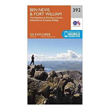 OS Explorer Map 392 Ben Nevis and Fort William, The Mamores