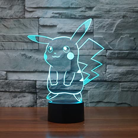 Pokemon Pikachu 3d Led Night Light Elstey 3d Optical Illusion