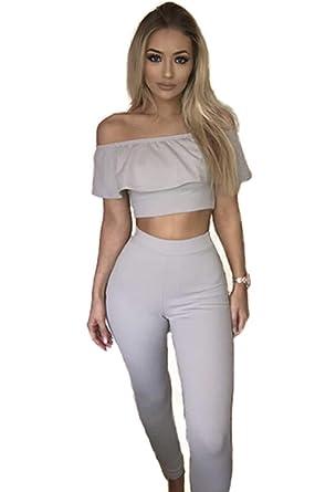 7667b0f917ff27 GFmaterial 2 Pieces Set Women Crop Top Long Bondycon Trousers Frill Bardot Off  Shoulder Suit Pants