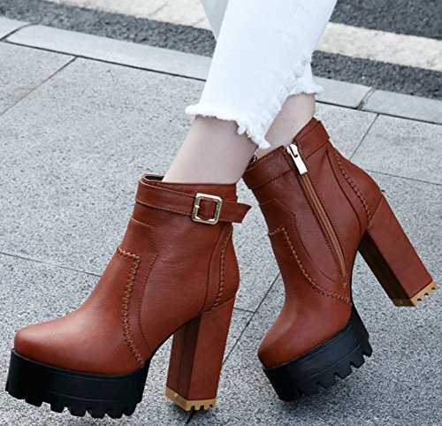 With High Womens Casual Up Yellow Chunky Round Plaform Ankle Toe Zip High Heel IDIFU Boots 7vfnqwFBF
