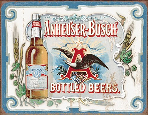 Anheuser Busch   Bottled Beers Metal Tin Sign   16X12
