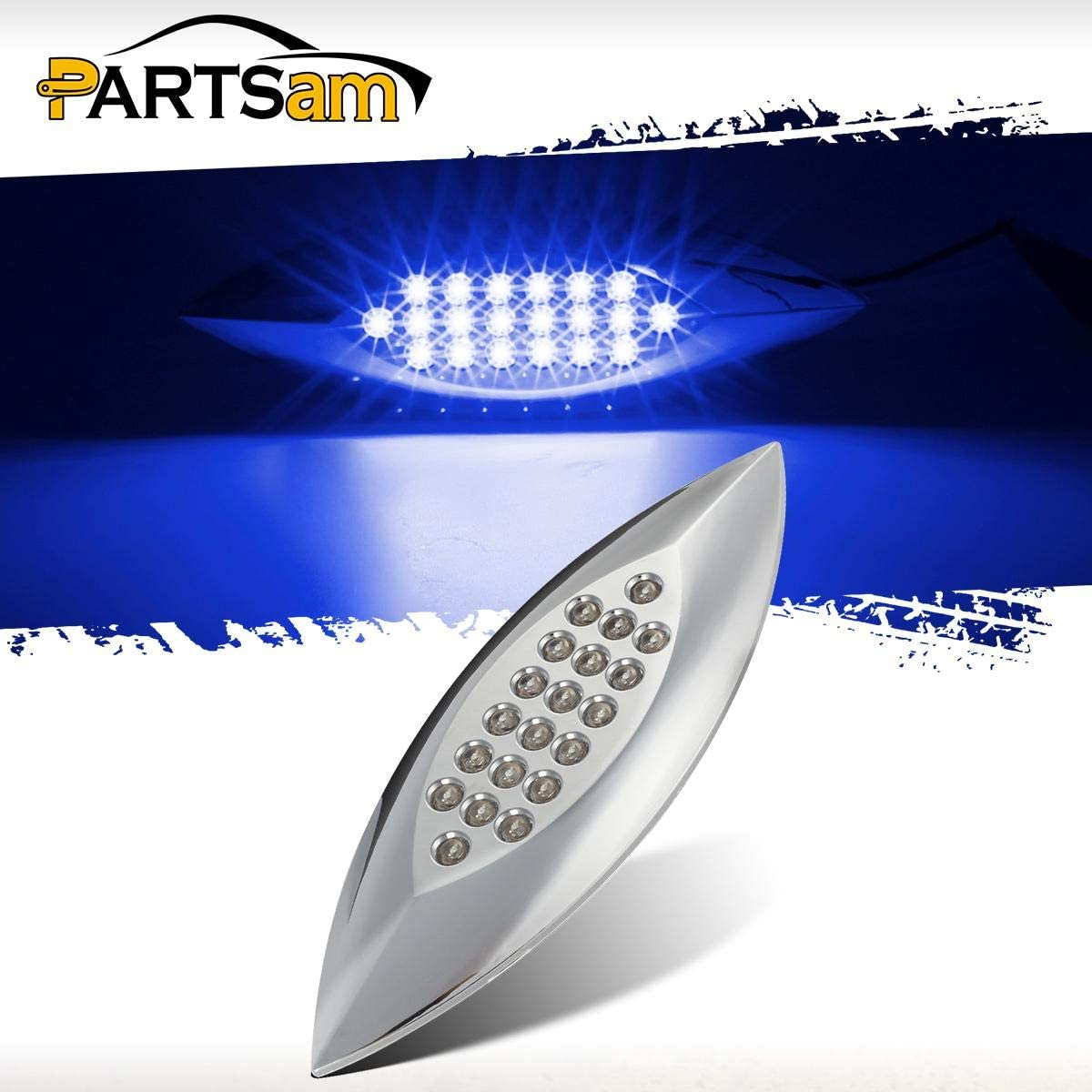 Partsam 6-3//5 Inch Flat-line Oval Stealth Blue Led Side Marker Lights Auxiliary Licence Plate Lights 20 Diodes Sealed Dual Mode Flush Mount Waterproof Led Front Fender Marker Lights Panel