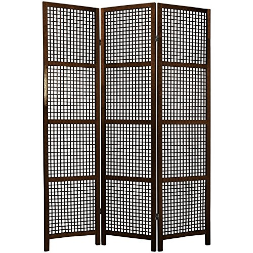 Oriental Furniture 6 ft. Tall Miyagi Shoji Screen - 3 Panel - Walnut