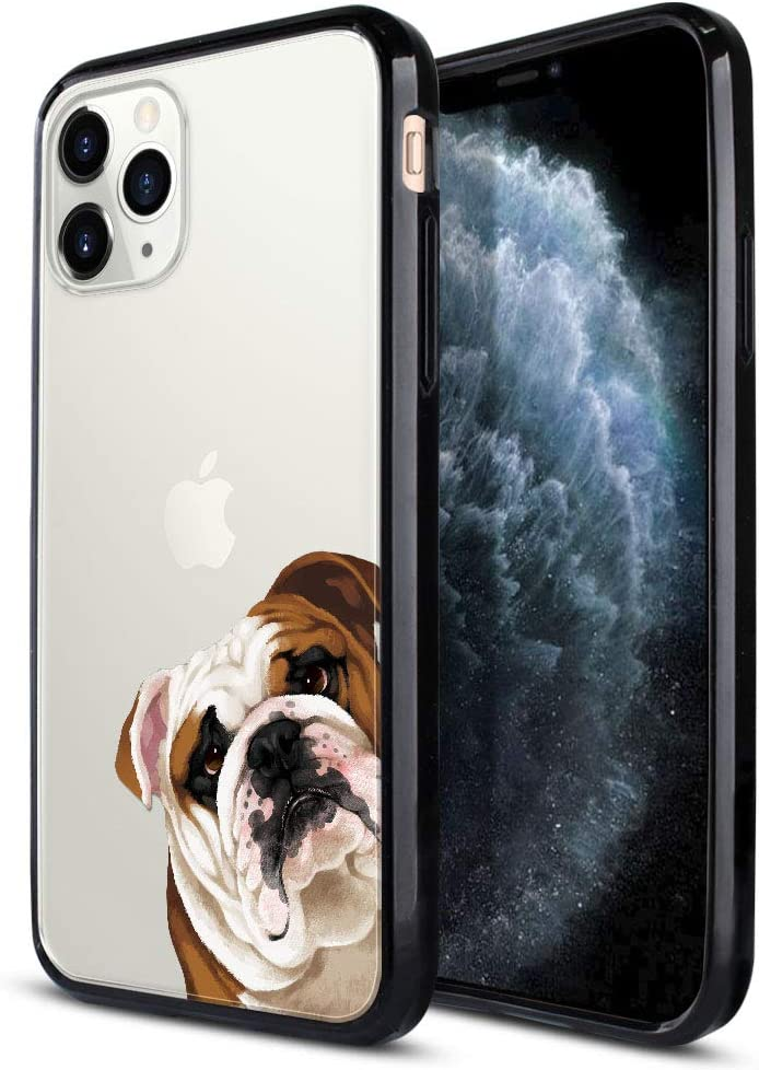 FINCIBO Case Compatible with Apple iPhone 11 Pro Max 6.5 inch 2019, Slim TPU Bumper + Clear Hard Protective Case Cover for iPhone 11 Pro Max (NOT FIT 11 Pro) - English Bulldog Look for You