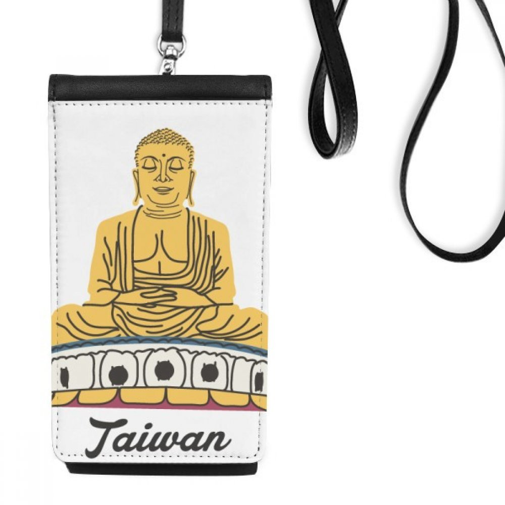 Attractions Taiwan Travel Buddha China Faux Leather Smartphone Hanging Purse Black Phone Wallet Gift