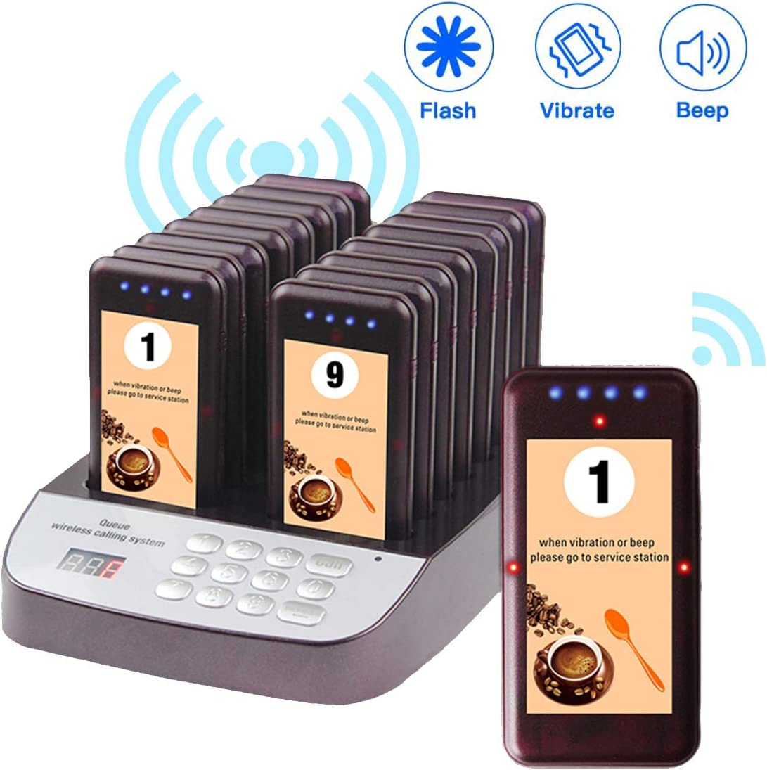Chunhee Wireless Calling System Restaurant Paging System, Rechargeable Long Range Guest Waiting Pager System with 16 Pagers Buzzer Beepers for Restaurant/Church/Food Truck/Coffee/Shop/Office