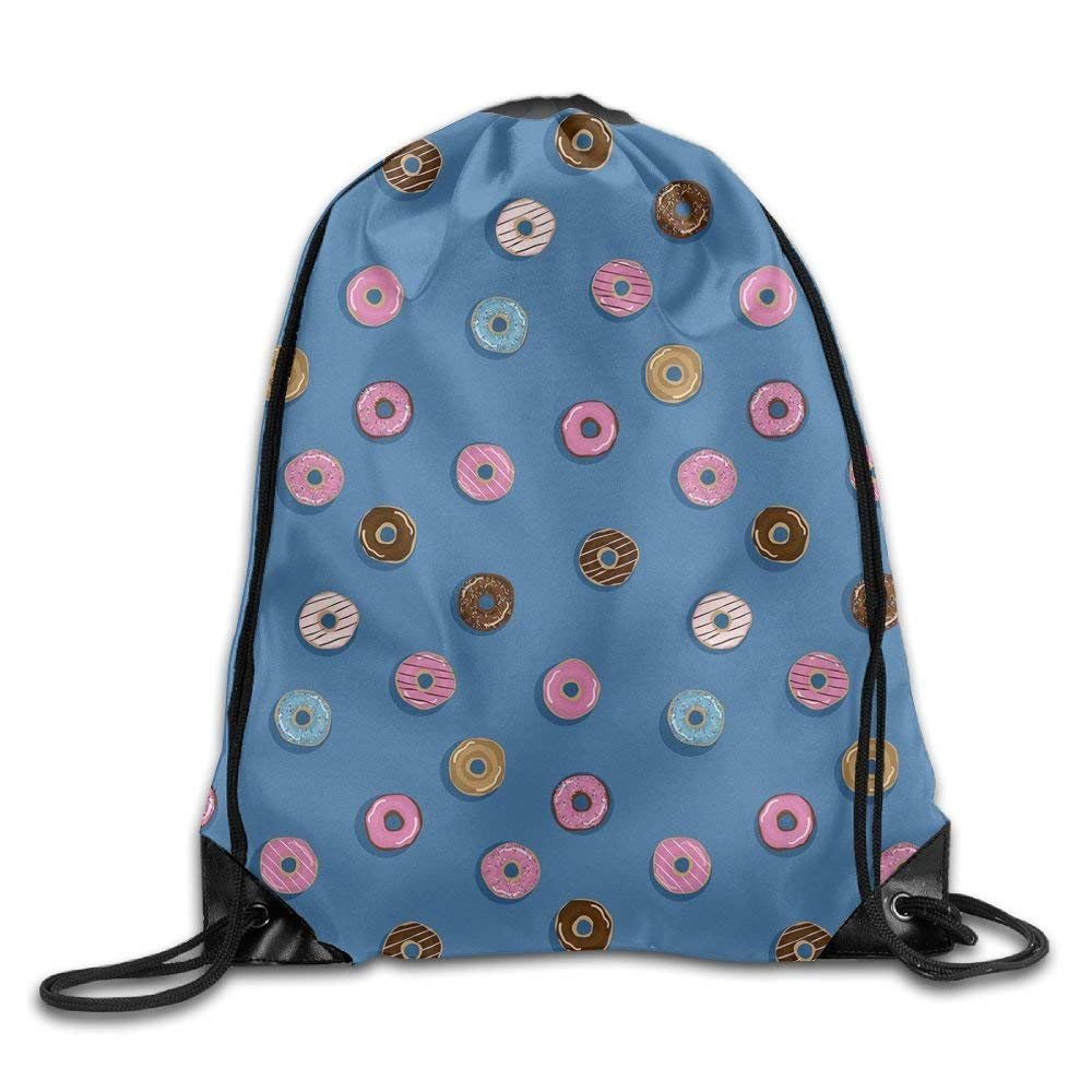 Donut Pattern Basic 100/% Polyester Drawstring Backpack Large Capacity Brilliant Colors String Bags 16x14 Inch For Teen