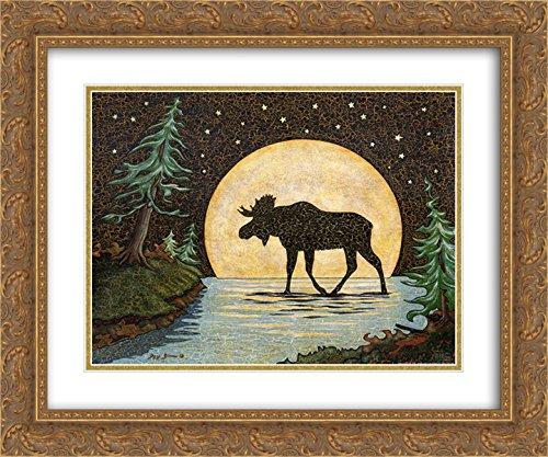 Moonlight Moose 2X Matted 18x15 Gold Ornate Framed Art Print by Jay Zinn -