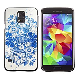 A-type Arte & diseño plástico duro Fundas Cover Cubre Hard Case Cover para Samsung Galaxy S5 (Blue Ink Flowers China)