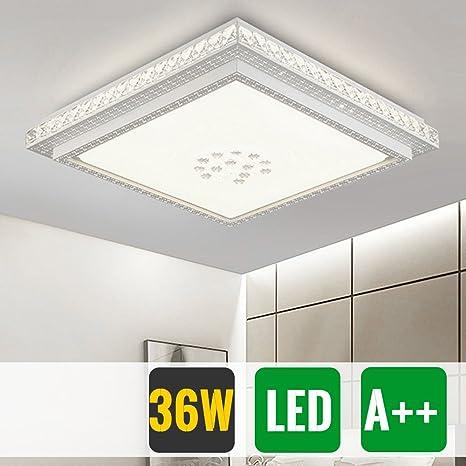 HG® Diseño Notable LED Lámpara de techo redondo cristal deckenleuchte Salón Star Light de efecto (Cuadrada 36W Blanco Frío)
