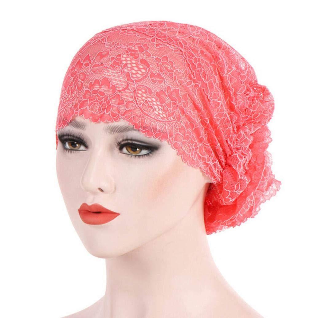 Cooljun Femmes T/ête Wrap,Femmes Dentelle Musulman Ruffle Cancer Chemo Chapeau Beanie /Écharpe Turban Cap