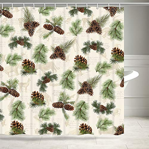 DYNH Pine Cone Shower Curtain, Christmas Tree Green Branches Tree and Pine Cone in Vintage Animals Bath Curtains, Farmhouse Rustic Cabin Fabric Shower Curtain for Bathroom 12PCS Shower Hooks, 69X70IN (Pine Cone Fabric Shower Curtain)