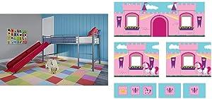 DHP Junior Twin Metal Loft Bed with Slide, Multifunctional Design, Silver with Red Slide & Princess Castle Design Curtain Set for Junior Loft Bed, Kids Furniture, Pink