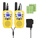 Rechargeable T-388 FRS/GMRS Kids Walkie Talkies 22 Channel 2 Way Radios (Yellow, 1 Pair)