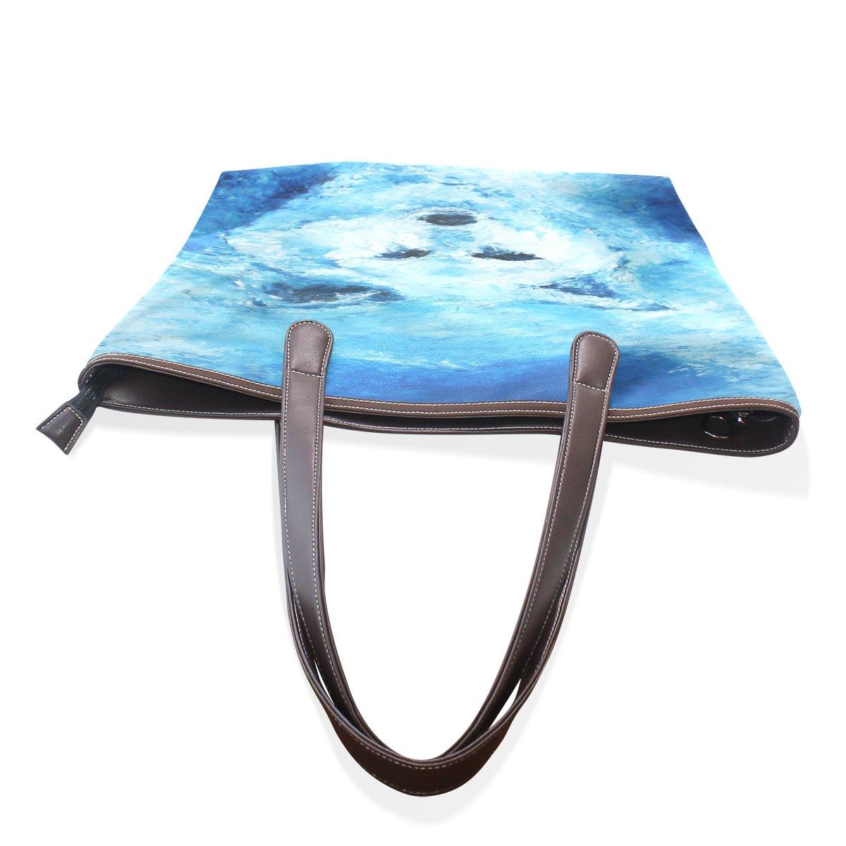Ye Store Watercolor Wolf Figure Lady PU Leather Handbag Tote Bag Shoulder Bag Shopping Bag