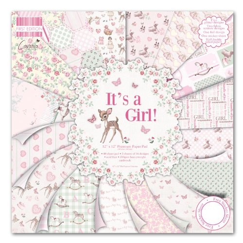 "First Edition It's a Girl Premium Paper Pad 6""x6"" 64 Sheets (FSC) Trimcraft FEPAD080"