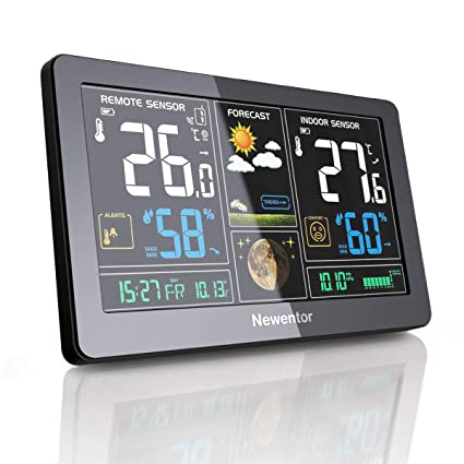 Newentor Weather Station Wireless Digital Indoor Outdoor Thermometer with  Alarm Clock, Color Large Display Hygrometer Temperature and Humidity  Monitor
