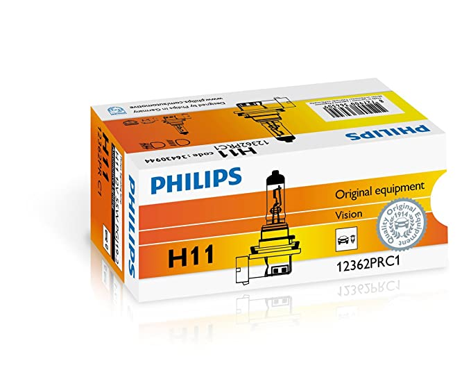 Philips H11 12v 55w Vision Car Headlight Bulb 30 More Light