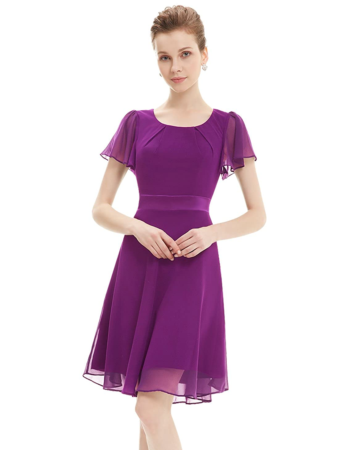 3896775e7e0 Ever-Pretty Womens Short Sleeve Casual Chiffon Bridesmaids Dress 14 US Dark  Purple at Amazon Women s Clothing store