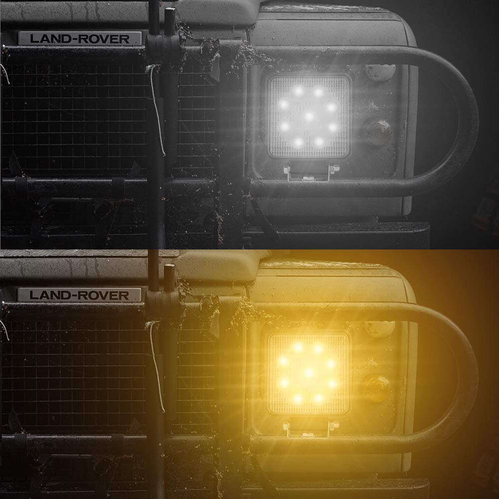Jeep ATV SUV LED Fog Light Bar 27W 3800LM YIMEIS 8523769813 Waterproof Square Flood LED Work Light Off Road Lights for Off-road 2pcs 4 inch Two-color Lamp Truck Motorcycle