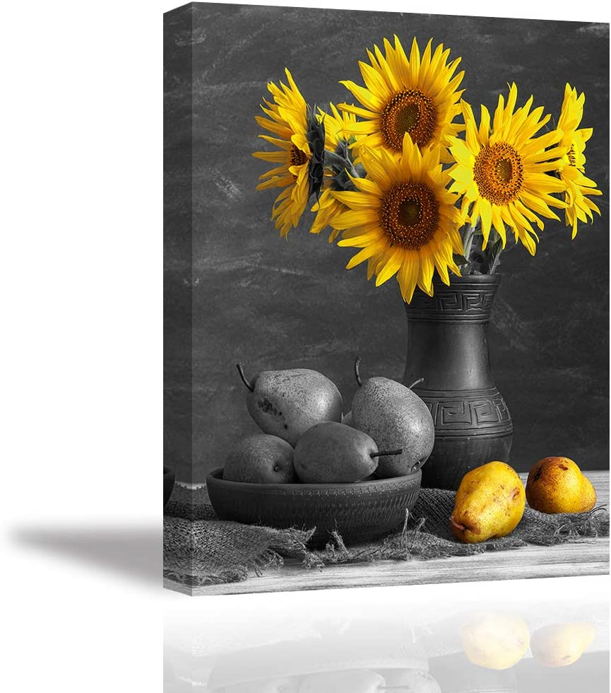 Tku's Retro Sunflowers Wall Decor Black and White Wall Art Still Life Canvas Oil Painting Framed Fruit Food Prints Flower Picture Home Decoration for Kitchen (Ready to Hang)