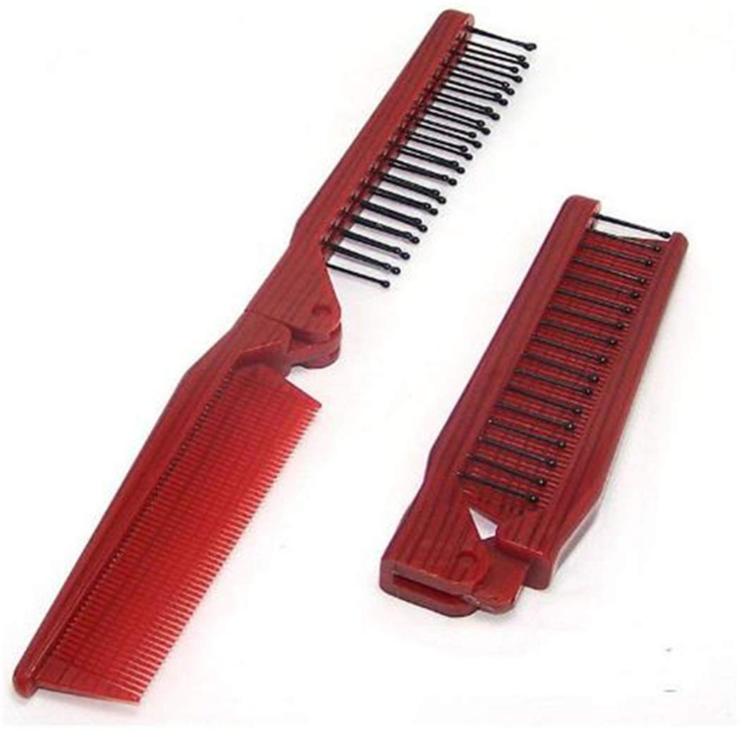 LZIYAN Portable Folding Dual-purpose Comb Carrying Case Pocket Size Double Headed Hair Comb For Women
