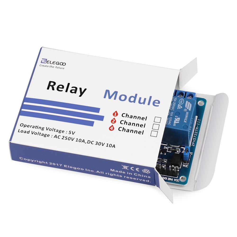 ELEGOO M/ódulo Rel/é de 8 Channel DC 5V con Optoacoplador para Arduino UNO R3 MEGA 2560 Proyecto 1280 DSP ARM PIC AVR STM32 Raspberry Pi