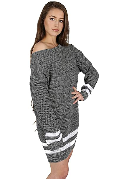 6889cb48d65 Oops Outlet Womens Ladies Chunky Cable Knitted Off The Shoulder Bardot  Oversized Baggy Sweater Jumper Dress Top Plus Size UK 8-22  Amazon.co.uk   Clothing