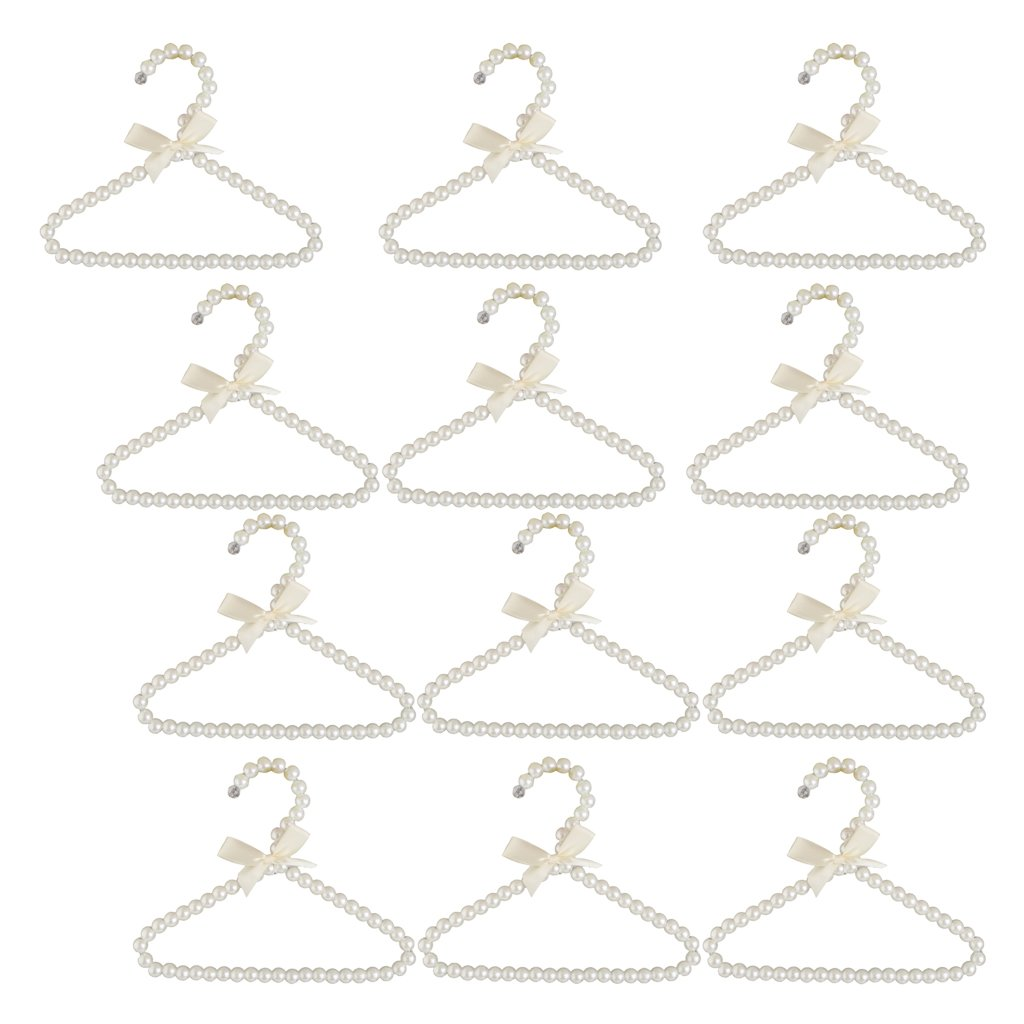 Baoblaze 12Pcs Hanger Hanging For Kids Clothes Children Space Save Plastic Pearl Baby ( White )