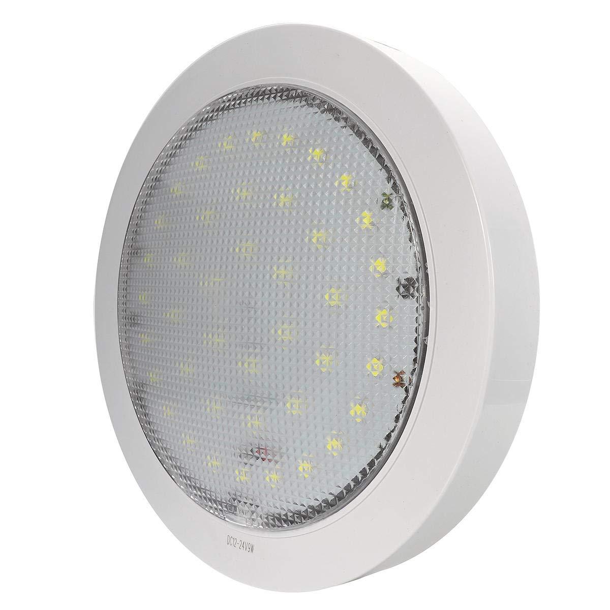 Plafonnier LED 12V-24V 5050 9W pour caravane//camping-car//remorque//bateau